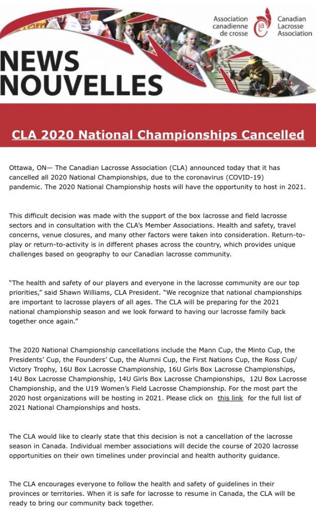 CLA announces cancellation of all 2020 national championships.